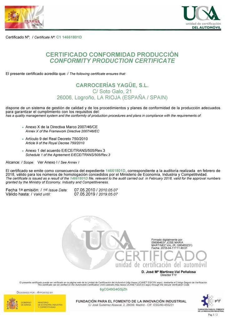 Carrocerías certificadas por UCA   Carrocerías Yagüe
